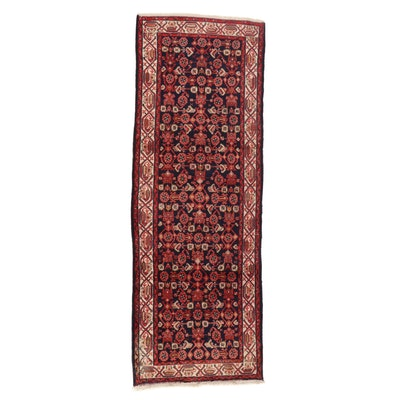 3'7 x 10'1 Hand-Knotted Persian Zanjan Long Rug, 1970s