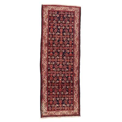 3'7 x 10'1 Hand-Knotted Persian Zanjan Long Rug, 1970s