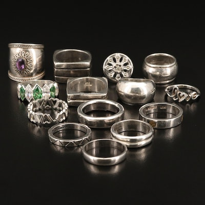 Sterling Rings Including Amethyst, Cubic Zirconia and Marcasite