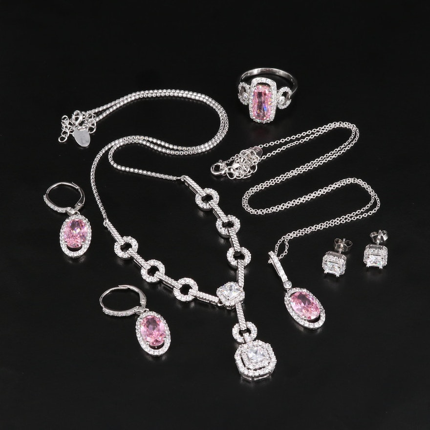 Sterling Silver Cubic Zirconia Ring, Necklaces and Earrings with Jewelry Boxes