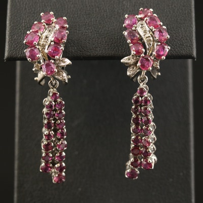 Sterling Silver Ruby and Topaz Dangle Earrings