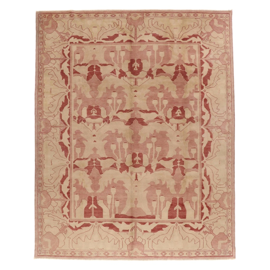 9'4 x 12'1 Hand-Knotted Turkish Oushak Room Sized Rug, 1970s