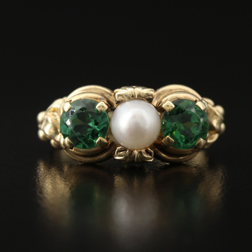 Vintage 14K Pearl and Tourmaline Ring
