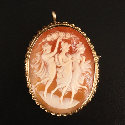"14K ""Three Graces"" Shell Cameo Converter Brooch"