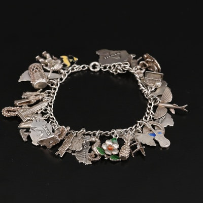 Vintage Sterling Silver Charm Bracelet Featuring Hawaiian Theme