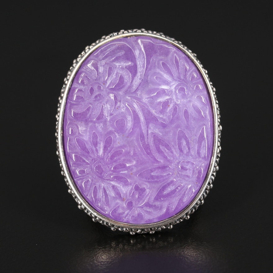 Sterling Carved Jadeite Floral Ring