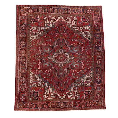 8' x 9'6 Hand-Knotted Persian Heriz Area Rug, 1950s