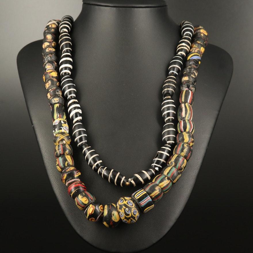 Venetian Trade Beads Including Barber Pole, French Ambassador and Ghana Eyes