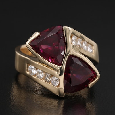 14K Garnet and Diamond Bypass Ring