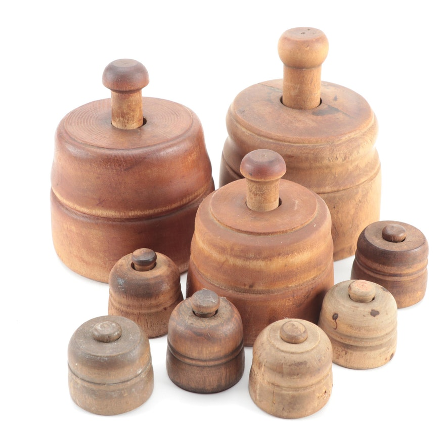 Primitive Wooden Butter Molds, Late 19th to Early 20th Century