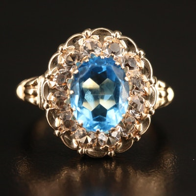 10K Glass Halo Ring