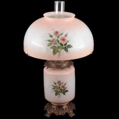 Victorian Style Parlor Lamp with Pink Satin Glass Shade, Mid-20th Century