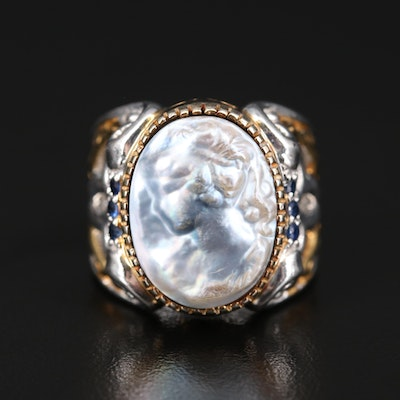 Sterling Mabé Pearl and Sapphire Cameo Ring