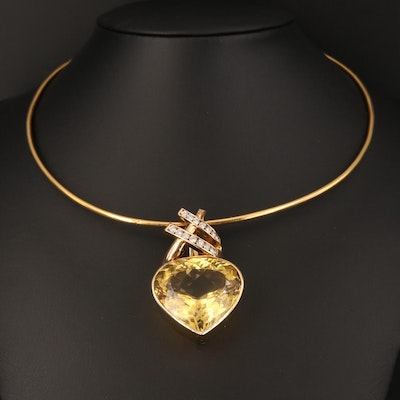 14K 66.91 CT Citrine and Diamond Pendant on 18K Collar