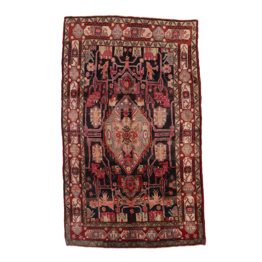 5'6 x 9'3 Hand-Knotted Persian Nahavand Area Rug, 1970s