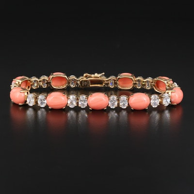 Sterling Faux Coral and Cubic Zirconia Bracelet