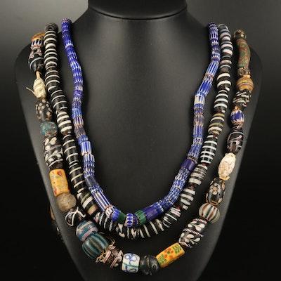 Venetian Trade Bead Necklaces Including Louis & Clark, Chevron and Barber Pole