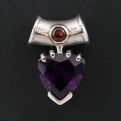 Sterling Amethyst and Garnet Slide Pendant