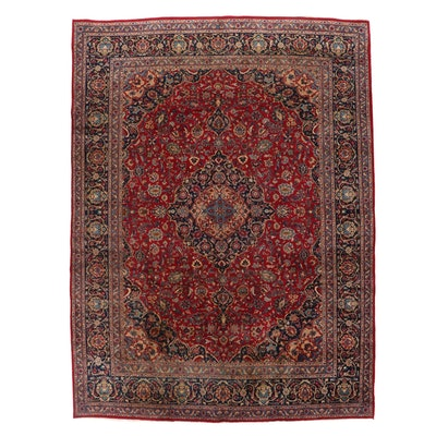 9'10 x 13'1 Hand-Knotted Persian Mashhad Room Sized Rug, 1970s