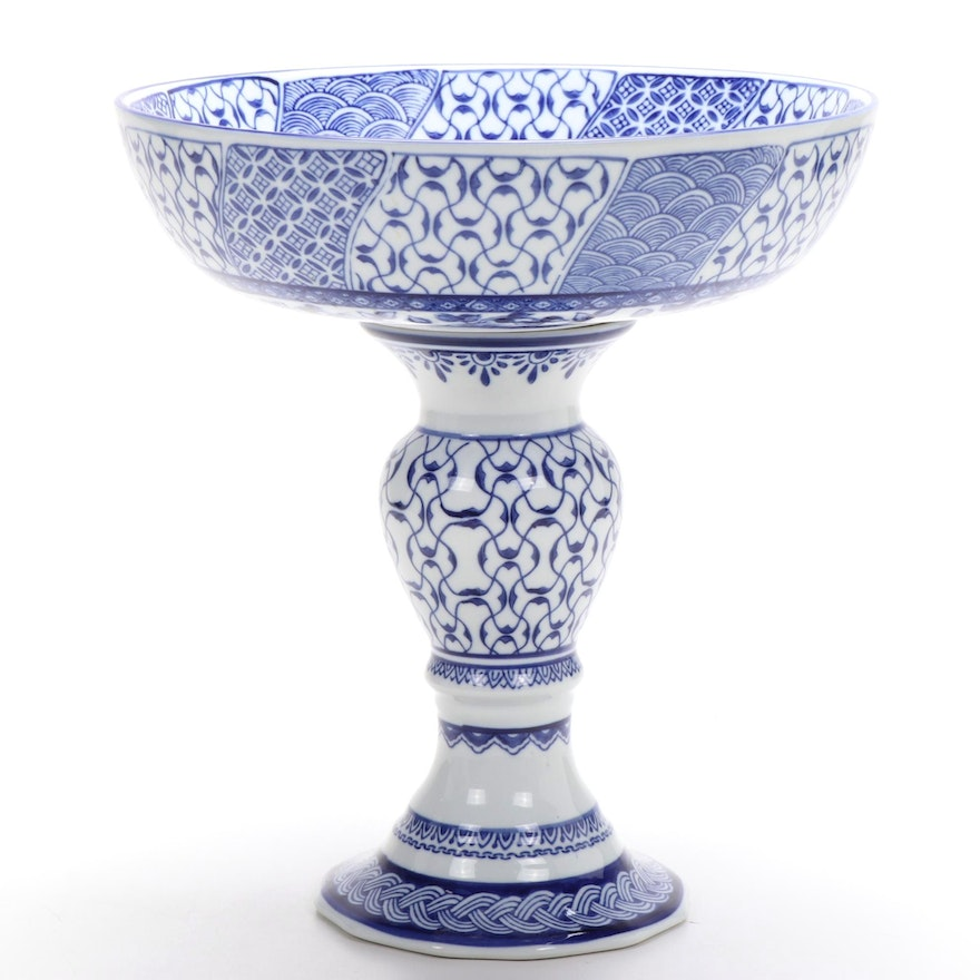 Bombay Company Chinese Ceramic Blue and White Compote, Late 20th to 21st Century