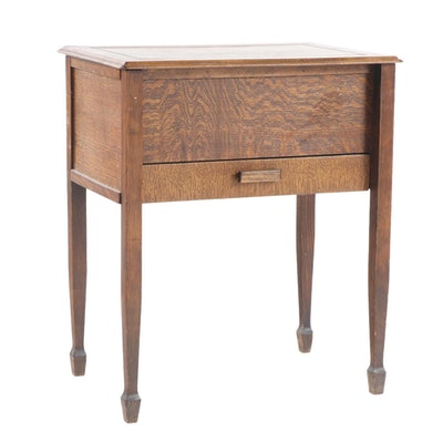 Chard Product Oak, Pine, and Beech Lift-Lid Sewing Table