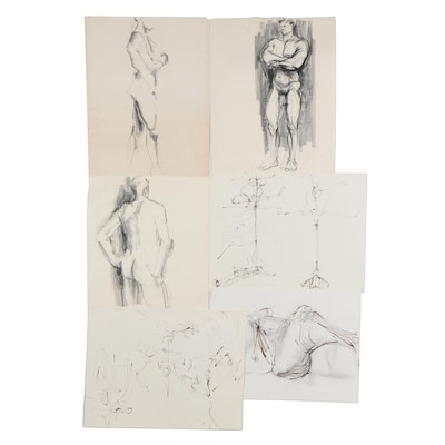 John Tuska Ink and Charcoal Figural Drawings, Late 20th Century