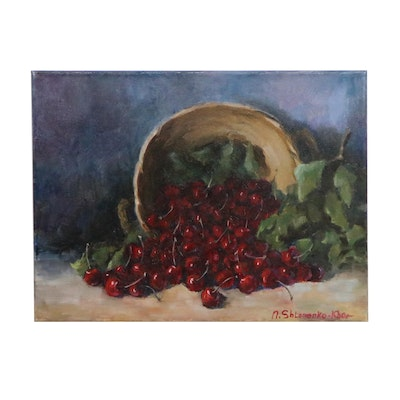 "Nataliya Shlomenko Impressionist Style Oil Painting ""Cherries,"" 2020"