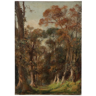 Landscape Oil Painting of Forest, Mid-20th Century