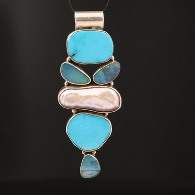 Sterling Opal, Pearl and Turquoise Pendant