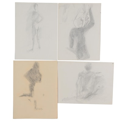 John Tuska Charcoal Gesture Drawings of Nude Figure Studies, Late 20th Century
