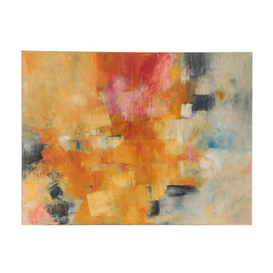 """Thuthuy Tran Abstract Oil Painting """"Mixed Gold,"""" 2012"""