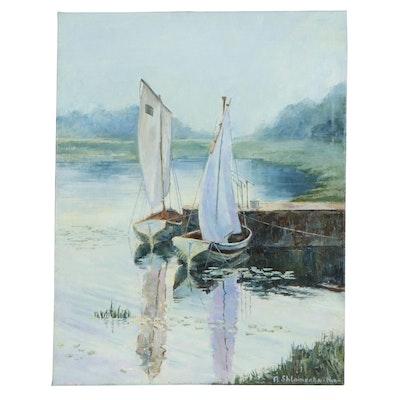 """Nataliya Shlomenko Impressionist Style Oil Painting """"Boats,"""" 2017"""