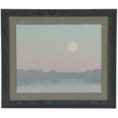 """Russell Chatham Color Lithograph """"Pale Winter Moonrise,"""" 1997"""