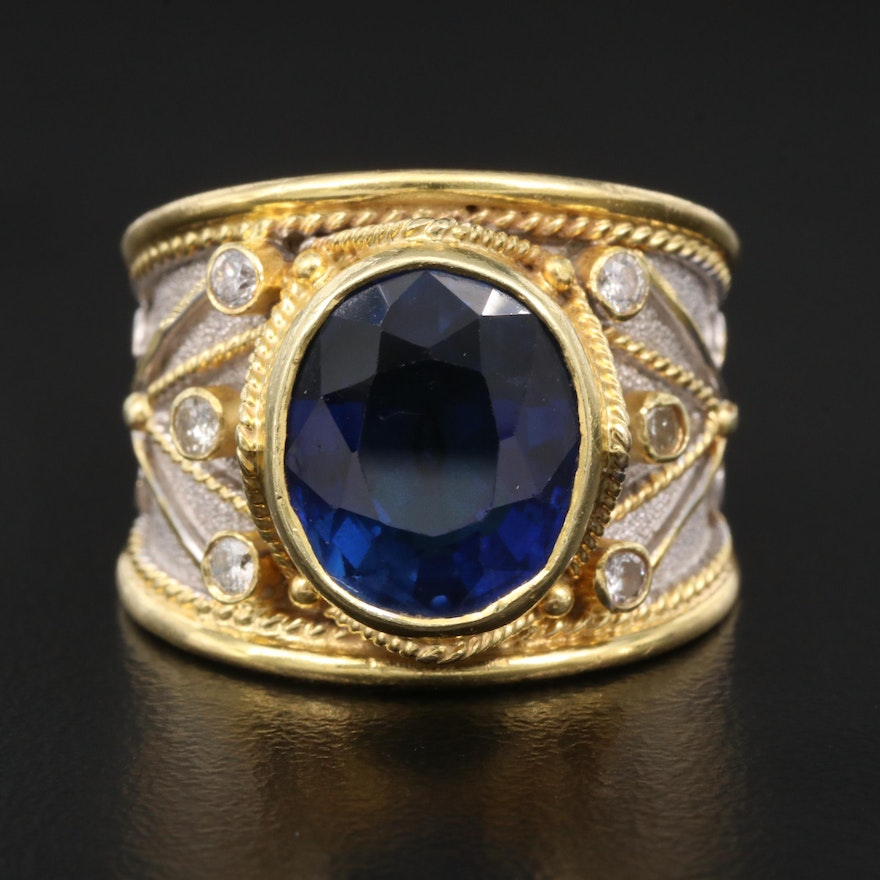 18K Sapphire and Diamond Tapered Ring
