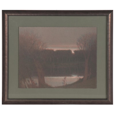 """Russell Chatham Color Lithograph """"Pond in Fading Light,"""" 1992"""