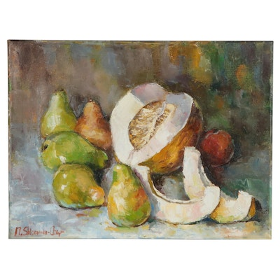 "Nataliya Shlomenko Impressionist Style Oil Painting ""Pears and Melon,"" 2020"