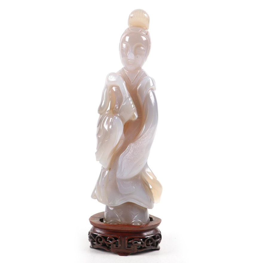 Chinese Carved Chalcedony Sculpture of Female Figure