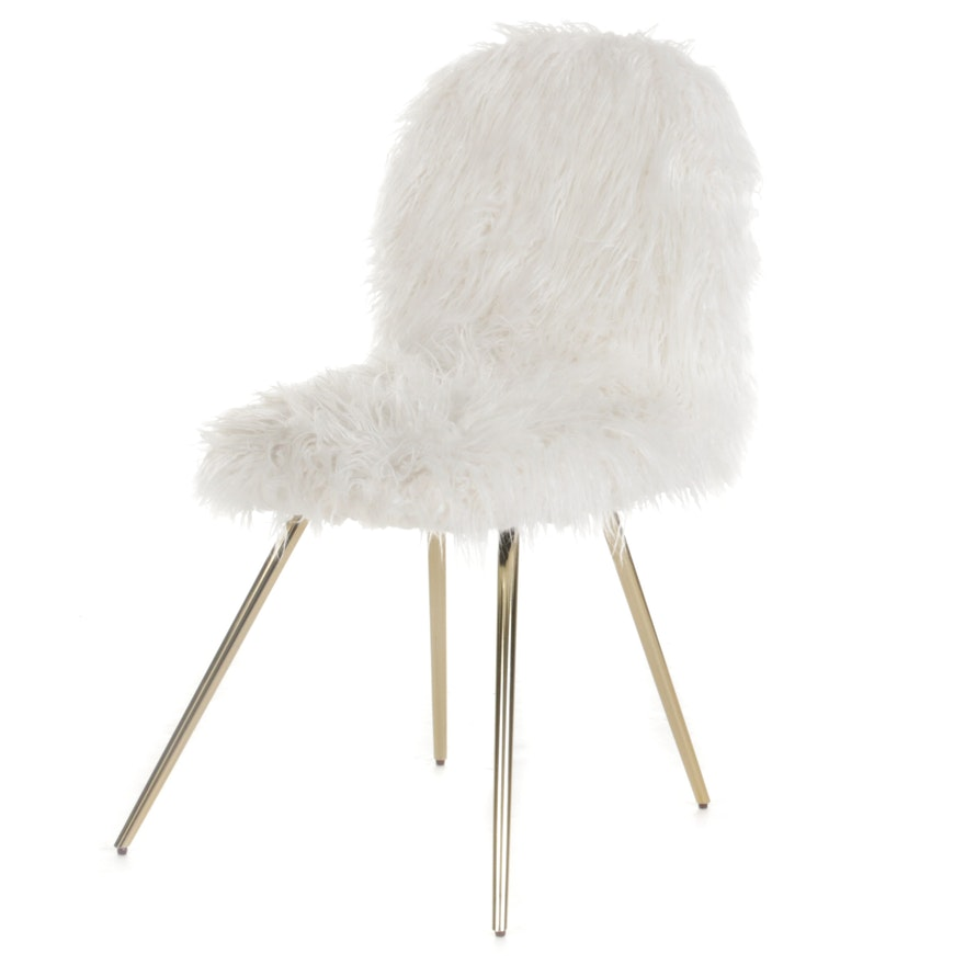 Office Star Gold Tone Metal and Faux-Fur Accent Chair