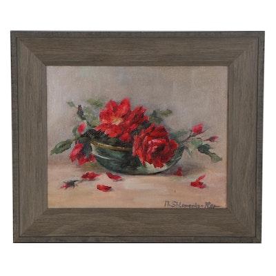 """Nataliya Shlomenko Impressionist Oil Painting """"Roses,"""" 2020"""