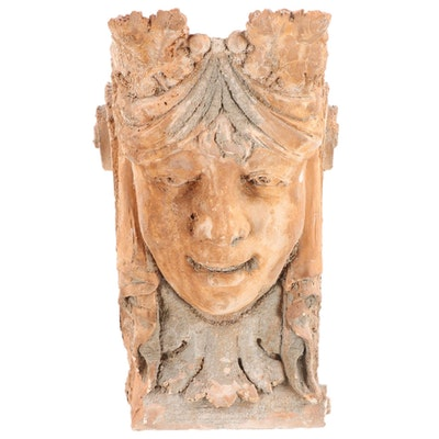 Art Nouveau Style Terracotta Mascaron, Vintage