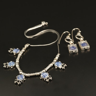 Sterling Lapis Lazuli Necklace and Earrings