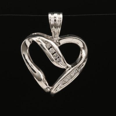 10K Diamond Open Heart Pendant