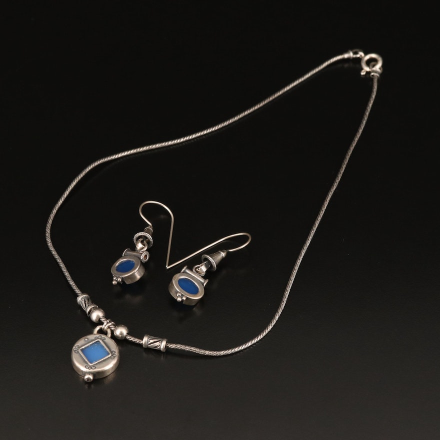 Sterling Chalcedony Necklace and Earrings
