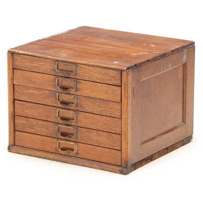 American Oak Six-Drawer Flat File Cabinet, Early 20th Century
