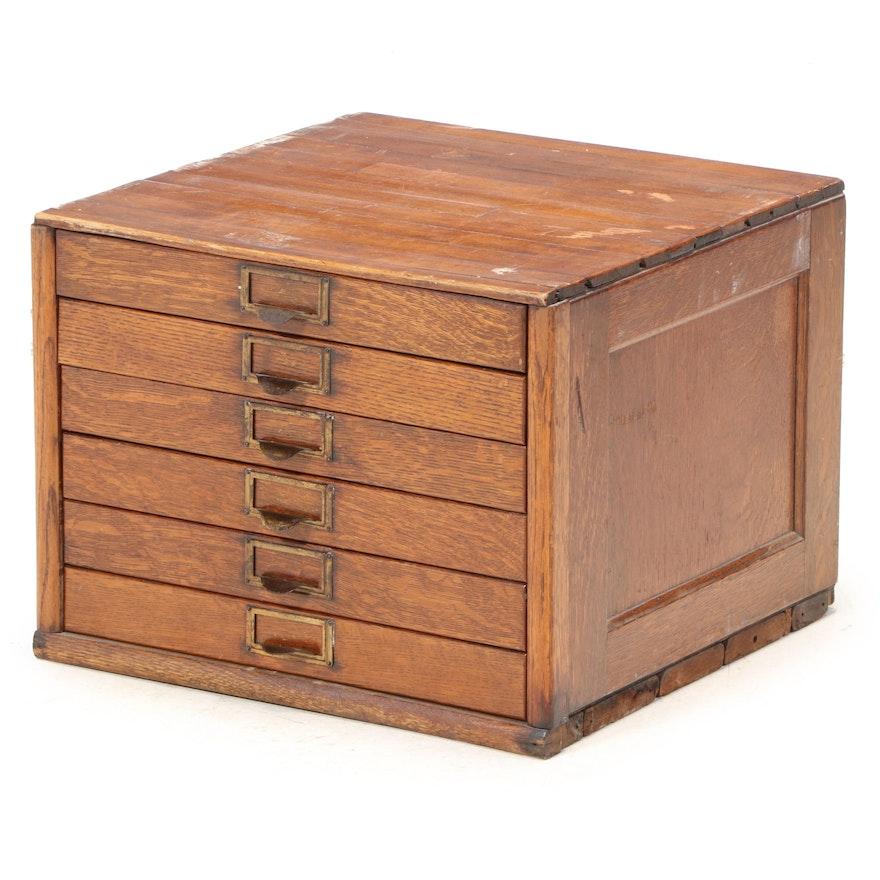 American Oak Six-Drawer Flat File Cabinet, Early 20th Century