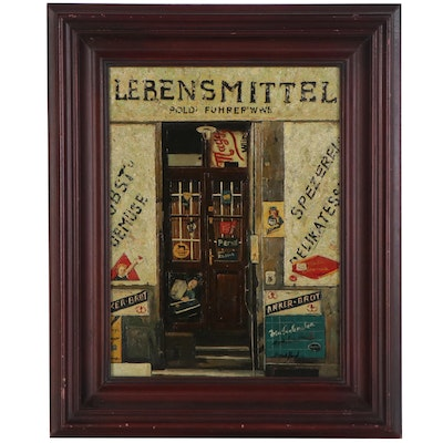 Oil Painting of German Storefront, Late 20th Century