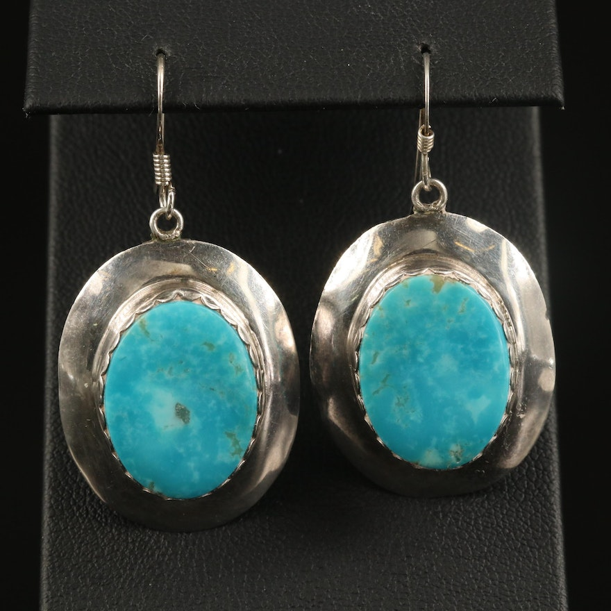 Sterling Turquoise Oval Dangle Earrings