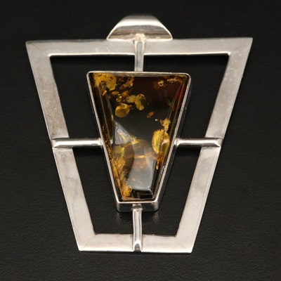 Sterling Amber Geometric Pendant