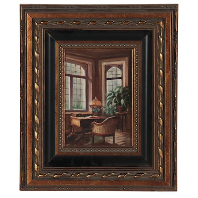 Zsuzanna Suger Oil Painting of Interior, Late 20th Century