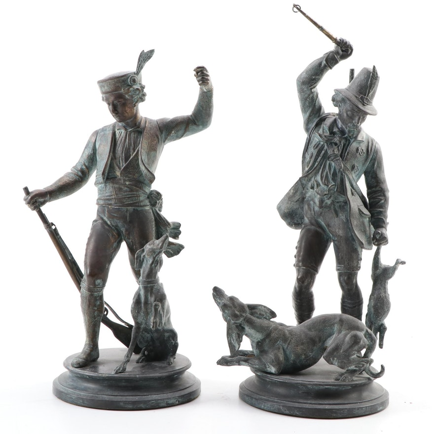 Spelter Tyrolean Figurative Sculptures with Dogs